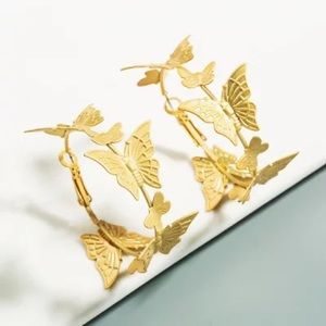 Butterfly Gold Abstract Mid Sized Hoops